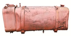 Old  red painted vintage metal steel  tank for diesel fuel. Isolated on white