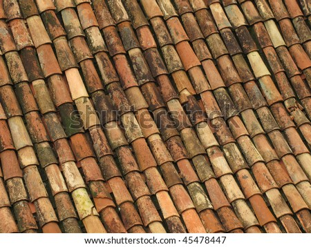 Old red roof tiles from spain