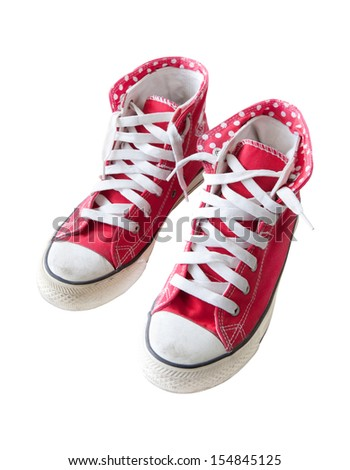 old red  sneaker shoes isolated white background