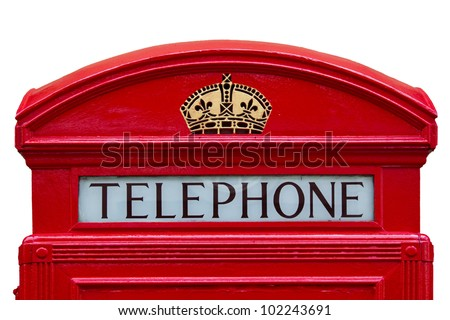 Old red telephone box with clipping path, London, England