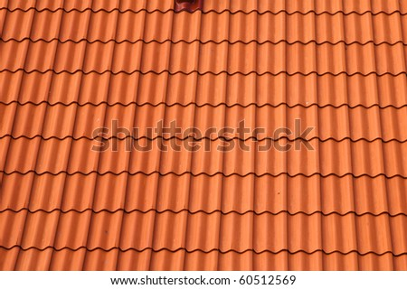 Old red tile roof. A background