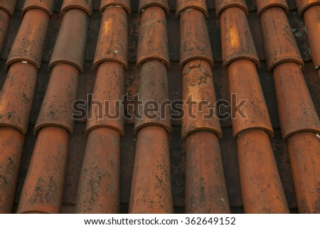 Old red tile roof Tallinn city, Estonia. #362649152