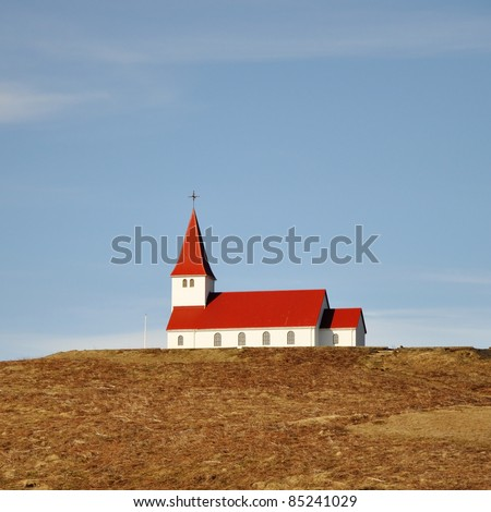 Old red wooden church, Iceland
