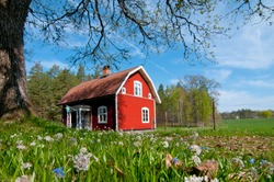 Old red wooden house in Sweden
