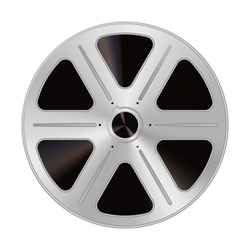 Old reel of filmstrip in a realistic style. Isolated on a white background. clipart