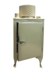 Old refrigerator vintage fridge with chrome handle isolated over white background