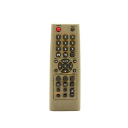 Old remote control for television isolated on white background.