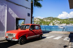 Old Renault 4 in the street of Port d'Andratx, Majorca