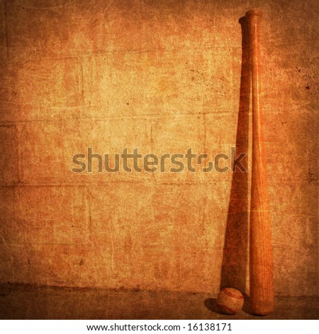 old rendering background of a bat and ball