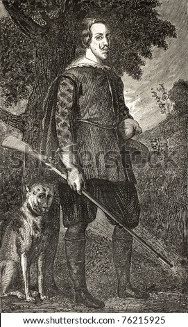 Old reproduction of Philippe IV of Spain portrait with hunting dog by Diego Velazquez. Engraved by Cosson-Smeeton, published on L'Illustration, Journal Universel, Paris, 1868
