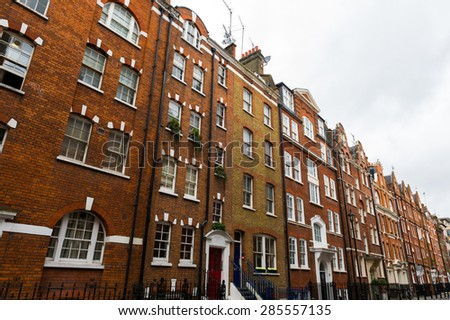 Old residential tenement houses in London.