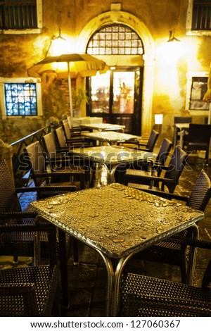 old restaurant in Venice at night - stock photo