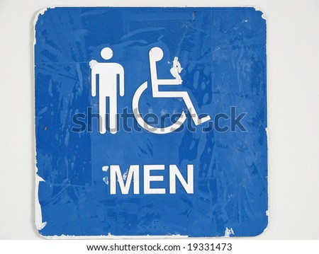 old restroom sign with men handicap characters