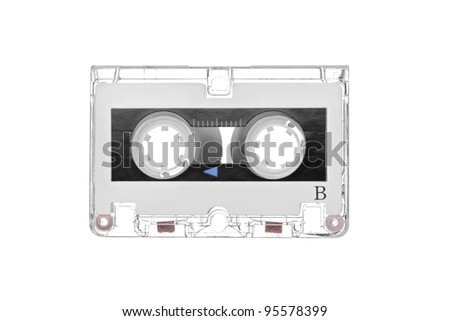 Old retro audio tape cassette isolated on white background