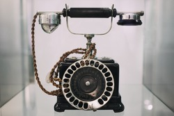 old retro black dial telephone / dialer with numbers