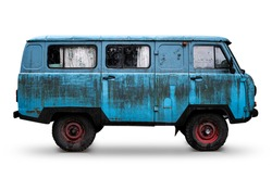 Old Retro Blue Dirty Van with Red Wheels Isolated on White. Rusty Rough Metal Surface Texture. Vintage Antique Soviet Russian Car Bus. Side View.