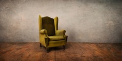 Old retro chair in empty rustic living room. Vintage interior design with grunge walls, antique furniture and textured wooden floor. Old fashion studio apartment architecture.