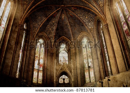 stock photo old retro churchold retro church background in gothic style