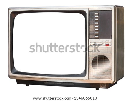 old retro color bronze  home TV receiver isolated on white background,side view old television #1346065010