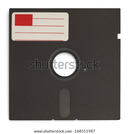 Old Retro Computer Disc with Copy Space Label Isolated on White Background.