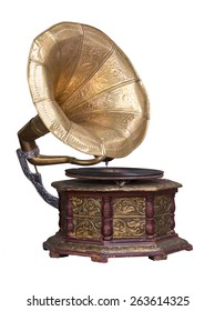 Stock photo old retro gramophone phonograph isolated on white.
