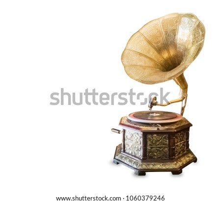 Old retro gramophone isolated over white #1060379246