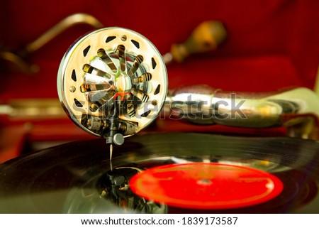 Old retro gramophone, vintage record player Stock fotó ©
