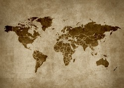 Old retro grunge map of the world