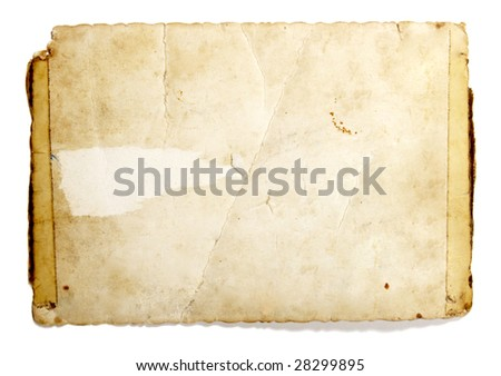 old retro instant film transfer photo reversed  on white background with clipping path