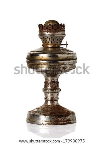 old, retro kerosene lamp isolated on white background #179930975