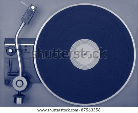 Old retro record player, view from above