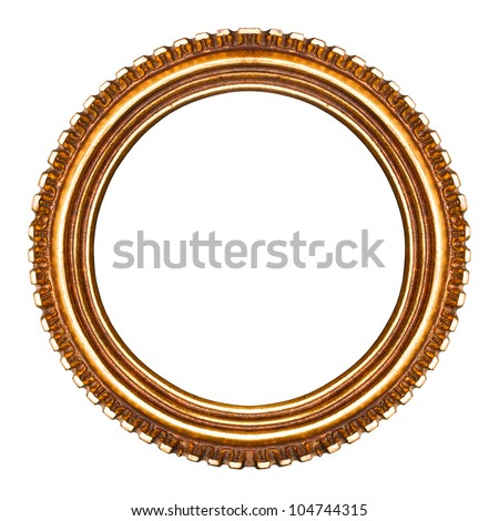old retro round wooden picture frame no22 isolated on white background