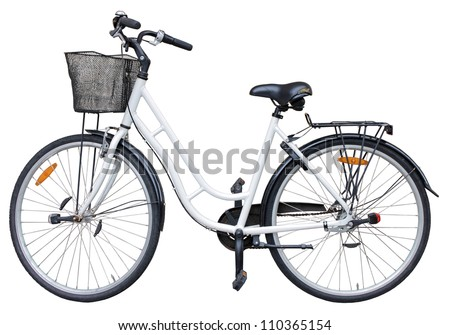 Old retro style bicycle isolated on white background