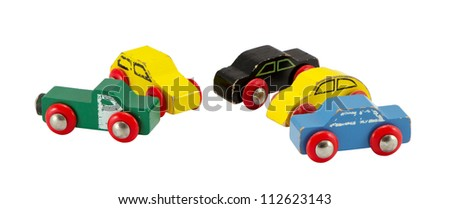 Old retro toy cars isolated on white background. Colorful objects.