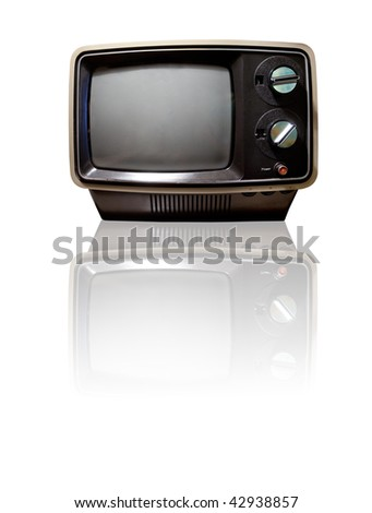 Old retro TV isolated on white with reflection - clipping path