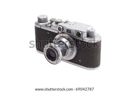old retro vintage rangefinder camera isolated on white background - stock photo