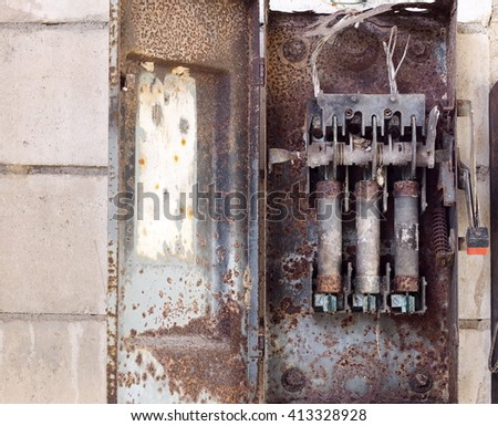 stock photo old retro vintage style rustic abandoned metal fuse box cabinet cut out switch with large burning 413328928 free rusty texture on electric control panel box photos avopix com Old Fuse Box Parts at panicattacktreatment.co