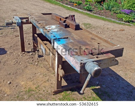 Old Retro Woodworking Bench With Carpenter Tools Stock Photo 53632615 ...