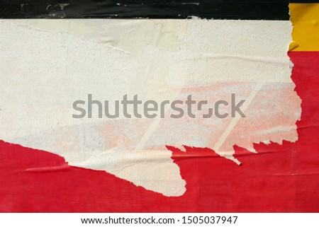 Old ripped torn posters grunge texture background creased crumpled paper backdrop placard surface / Urban street posters   Foto d'archivio ©