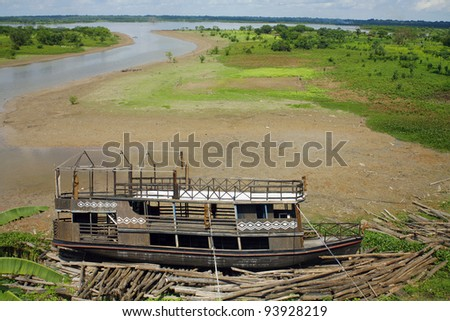 Old river boat beside the Amazon river at Iquitos, Peru