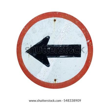old road sign  black arrow on...