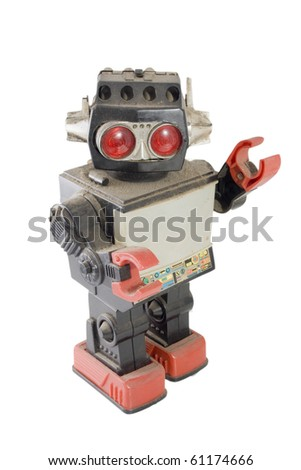 old robot toy greeting