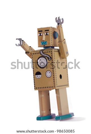 Old robot toy isolated on white background