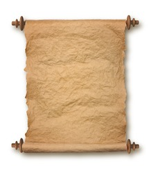 Old rolled blank parchment paper roll on white background, with drop shadow