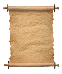 Old rolled blank parchment paper roll vertical on white background
