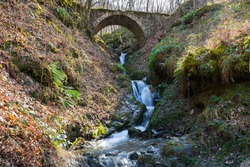 Old Roman stone bridge over a beautiful small river that runs through a lush forest.