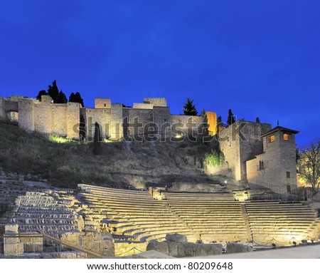 Old Roman theater in Malaga, Spain by night