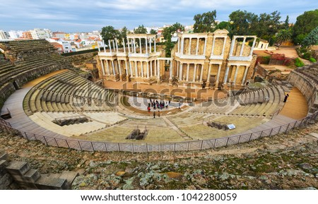 Old Roman Theatre  in  Merida, Spain.Built by the Romans  in end of the 1st century or early 2nd century