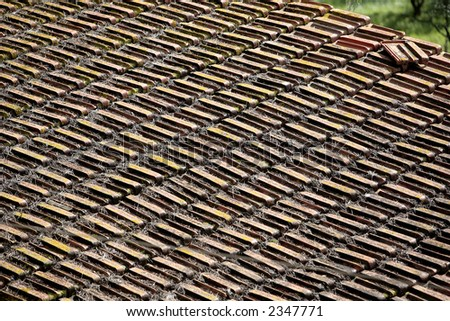 old roof of tile
