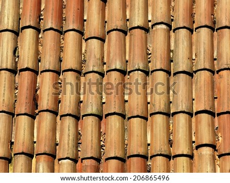 Old roof tiles pattern house brick background. #206865496